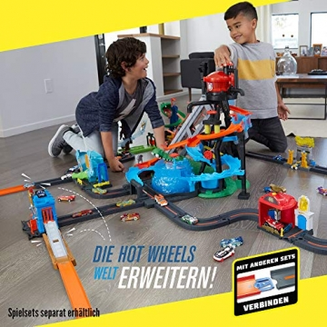 Hot Wheels FTB67 - City Ultimative Autowaschanlage mit Krokodil, Waschstation Spielset mit Farbwechseleffekt inkl. 1 Spielzeugauto und Alligator, Kinder Spielzeug ab 4 Jahren - 6