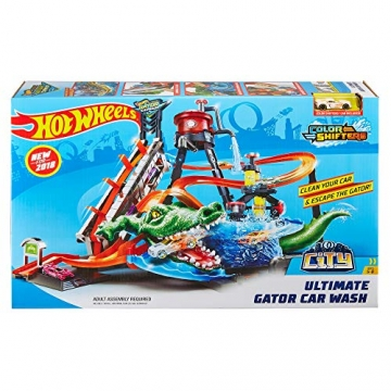Hot Wheels FTB67 - City Ultimative Autowaschanlage mit Krokodil, Waschstation Spielset mit Farbwechseleffekt inkl. 1 Spielzeugauto und Alligator, Kinder Spielzeug ab 4 Jahren - 7