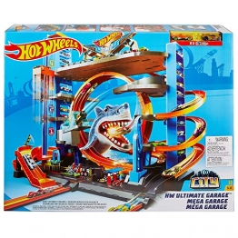 Hot Wheels FTB69 City Ultimate Parkgarage, Garage und Parkhaus mit Hai für +90 Autos, mit Looping Tracks inkl. 2 Spielzeugautos, ca. 63 cm hoch, ab 5 Jahren - 7