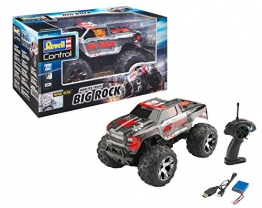 Revell Control 24479 RC Car Monster Truck Big Rock, 2.4 GHz Fernsteuerung, LiPo-Akku, Metallgetriebe, große Reifen, spritzwassergeschützt 8 ferngesteuertes Auto, rot/grau, Länge: ca. 35,5 cm - 1